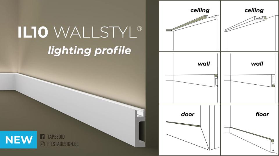Mitmeotstarbeline led-valgustuse võimalusega liist Wallstyl IL10