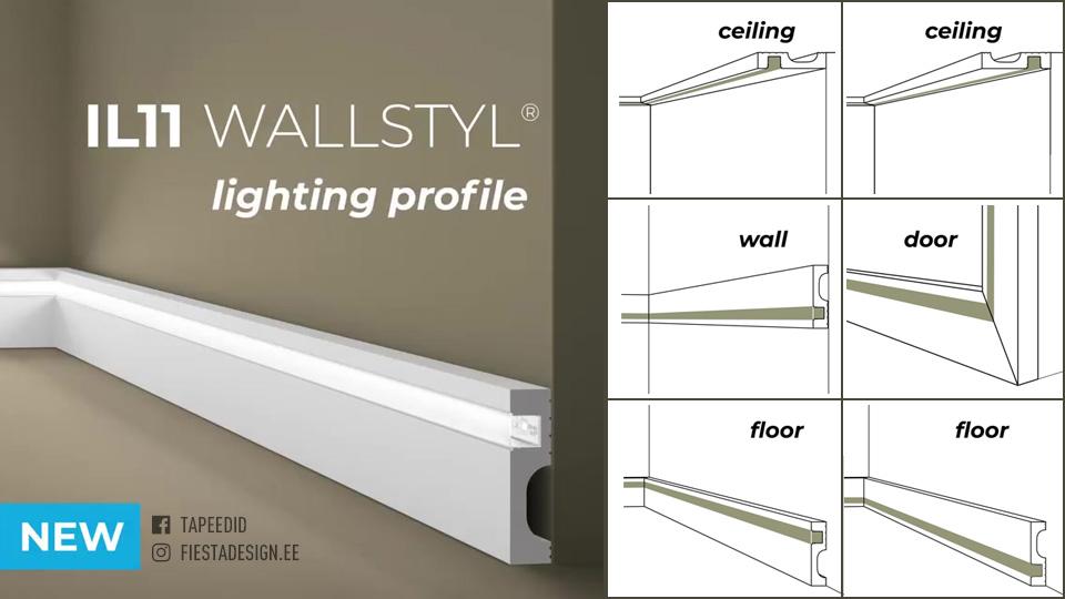 Led-valgustuse võimalusega liist Wallstyl IL11